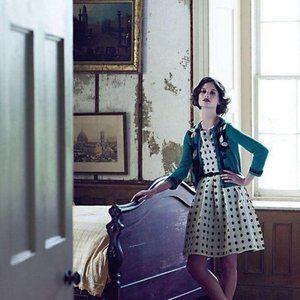 Eva Franco Mullany Polka Dot Linen Anthro Dress 6